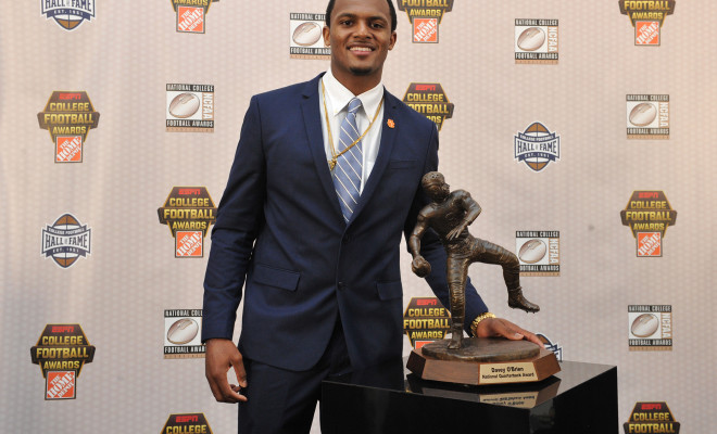 Atlanta, GA - December 10, 2015 - College Football Hall of Fame: Portrait of College Football Awards Winner Deshaun Watson (Photo by Richard Ducree / ESPN Images)